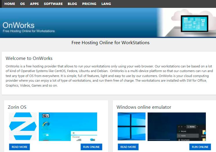 OnWorks 免费体验 Windows/Linux/MAC等系统云服务器